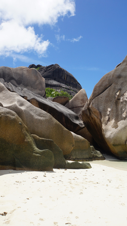 yearning: granite rocks on la diguei sland seychelles Stock Photo