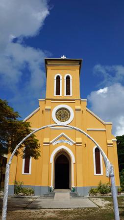 digue: small christian church on la digue island Stock Photo