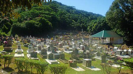 digue: tropical graveyard on la digue island seychelles