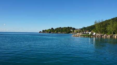 la digue: small tropical harbor on la digue seychelles