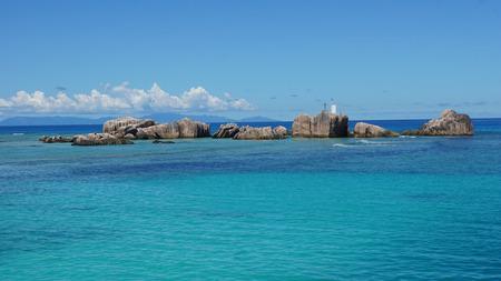 la digue: la digue lighthouse on granite rocks