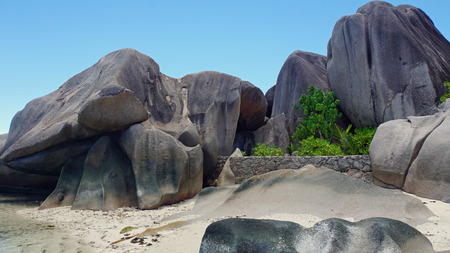 la digue: summer in exotic paradise on la digue island Stock Photo
