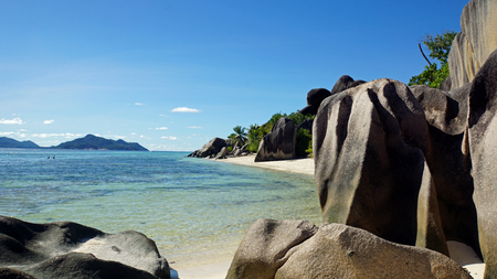la digue: bizarre granite rocks on tropical beachon la digue