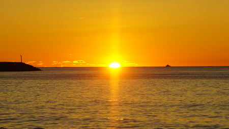 colorful sunset over the indian ocean on seychelles Stock Photo