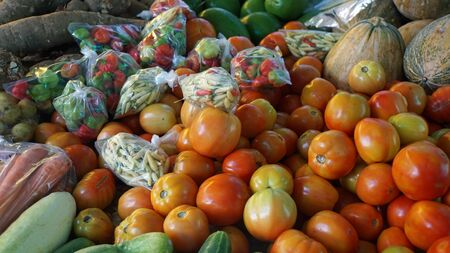 fruit trade: tropical market in victoria on mahe island