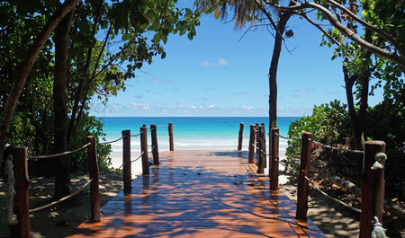 wooden footpath to the coulurful indian ocean