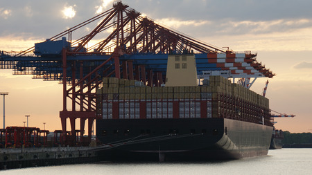 container terminal in the harbor of hamburg in germany