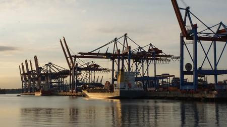 Container-Terminal im Hafen von Hamburg in Deutschland Standard-Bild - 43578671