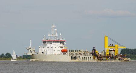 nautical   vessel: large nautical vessel on german river elbe Stock Photo