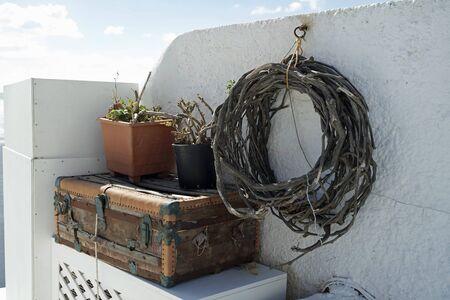 mediterranean homes: Santorini in Greece Stock Photo