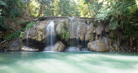 erawan: waterfall in erawan national park in thailand