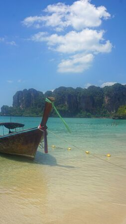 railey: traditional thai longtail boat on railey beach