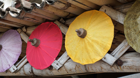 bo: handmade colorful paper umbrellas from bo song Stock Photo