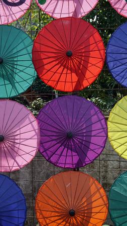 bo: handmade colorful paper umbrellas from bo song Stock Photo