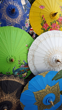 song: handmade colorful paper umbrellas from bo song Stock Photo