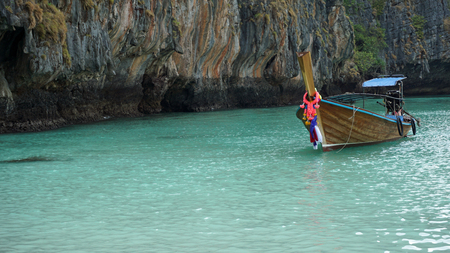 phi: traditional longtailboat from thailand oh phi phi island