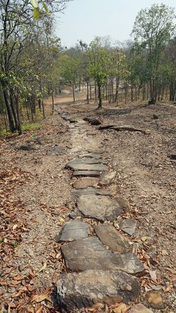 traditional climbing: small path to hill in sukhothai historical park Stock Photo