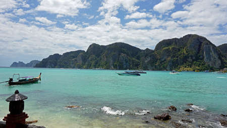 longtail: traditional longtail boat on island in thailand