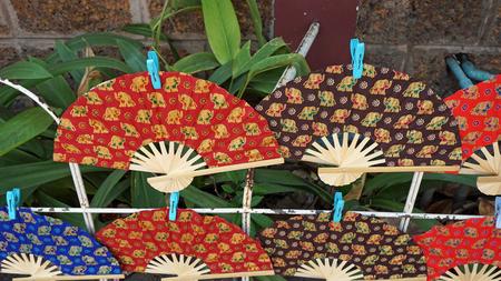wooden handmade: traditional wooden handmade fan from chiang mai