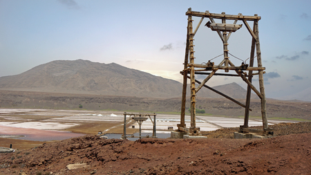 an        verde: old weathered salt refinery on cape verde