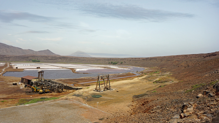 cape verde: old weathered salt refinery on cape verde