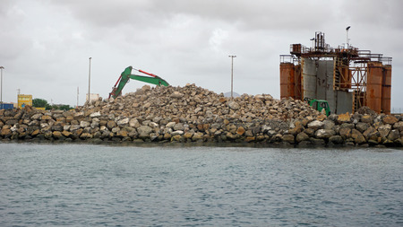small industry harbor on sal island Stock Photo