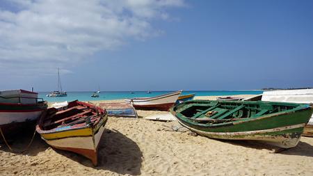 santa maria: colorful fisher boast at santa maria beach Stock Photo