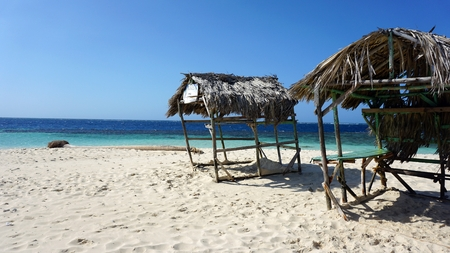 wooden shelter on carribean island in the dominican republic Stock Photo