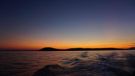 colorful sunset in splits harbor Stock Photo