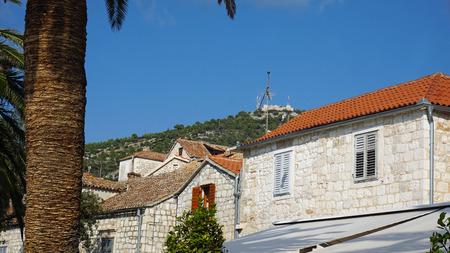 traditional houses on hvar island in croatia Stock Photo