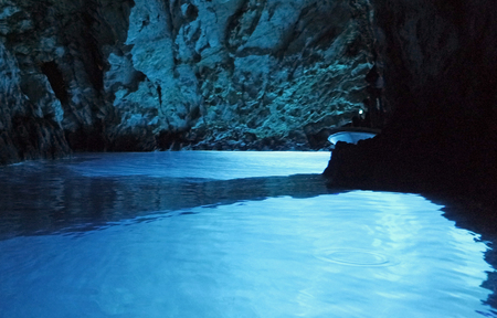 amazing natural blue cave in bisevo croatia