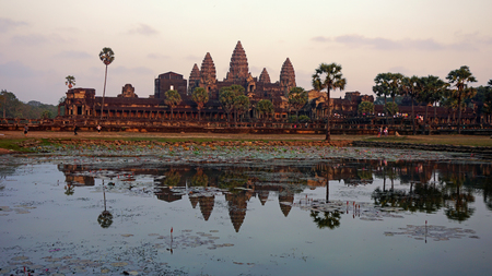 angkor wat temple in cambodia at early afternoon Фото со стока