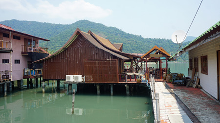 wooden houses at the bang bao pier on koh chang