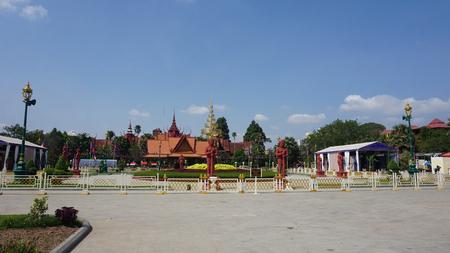buddhistic temple complex in cambodian town phnom penh