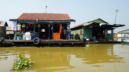 floating village in the tonle sap lake in cambodia Editorial