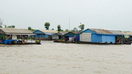 traditional floating village on tonle sap lake in cambodia