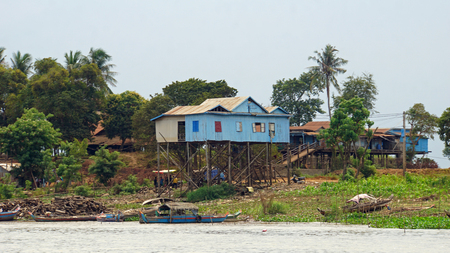 traditional fisherman village on tonle sap river in cambodia