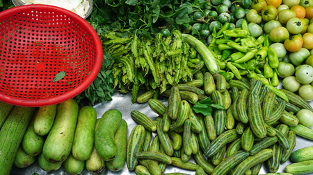 fresh food from a local market in phnom penh Stock Photo