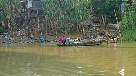Siem Reap, Tonle Sap River, Cambodia - March 2018: Poor Fishermans life on the tonle sap river