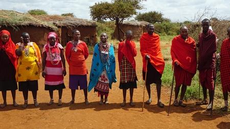 Kimana, Kenia, circa juni 2018 - Traditioneel Masai-dorp