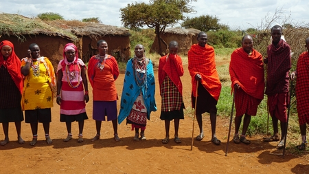 Kimana, Kenya, circa June 2018 - Traditional Masai Village Редакционное