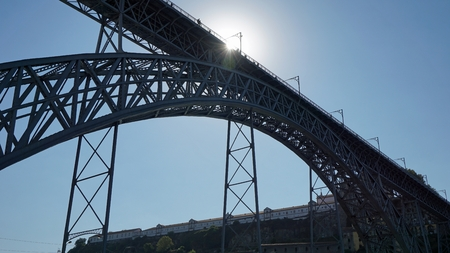 giant dom luis bridge construction in porto