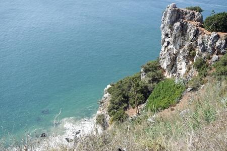 shore line of small tourist village nazare in portugal Standard-Bild - 114258405
