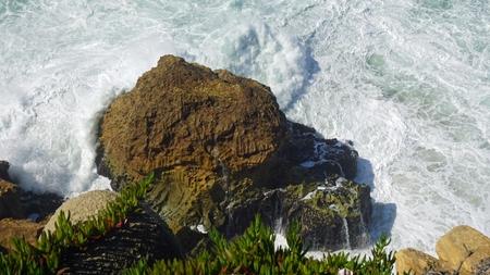 shore line of small tourist village nazare in portugal Standard-Bild - 114258415