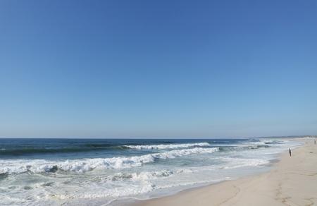 heavy waves in fouradouro beach during autumn Standard-Bild - 114258434