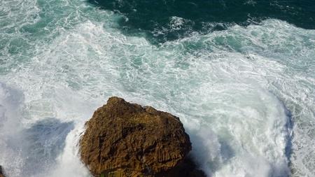 shore line of small tourist village nazare in portugal Standard-Bild - 114258399
