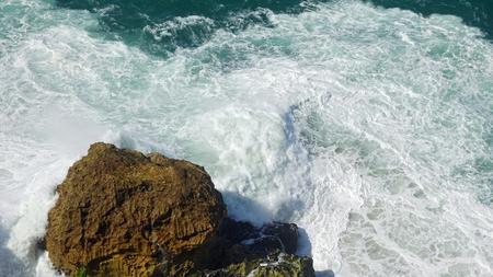 shore line of small tourist village nazare in portugal Standard-Bild - 114258300