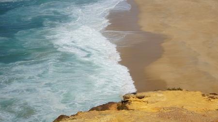 shore line of small tourist village nazare in portugal Standard-Bild - 114258302