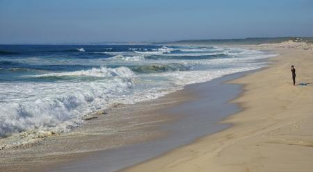 heavy waves in fouradouro beach during autumn