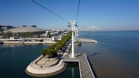 modern new cable car at lisbon in portugal